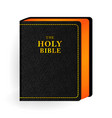 holy bible vintage leather black book vector image vector image