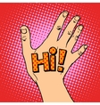 Human hand greeting hi vector image vector image