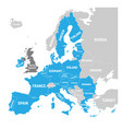 map of europe with blue highlighted eu member vector image vector image