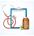 Medical Concept Stethoscope Clipboard and Pills vector image