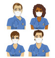 medical nurse staff team wearing surgical masks vector image