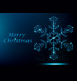 merry christmas greeting card with snowflake vector image vector image