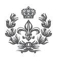 monochrome pattern with fleur de lis laurel vector image