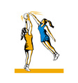 Netball Player Shooting Blocked vector image vector image