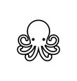 octopus outline icon on white background vector image vector image