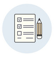 pencil and paper icon check list exam test vector image