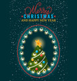 postcard merry xmas and happy new year vector image vector image
