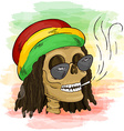 printable hand drawn reggae smoking skull wearing vector image