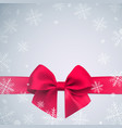 realistic bow and ribbon on winter vector image vector image