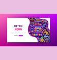retro neon landing page vector image vector image