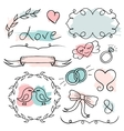 Romantic set hand drawn elements vector image vector image