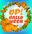 round frame with pumpkins and text op halloween vector image vector image