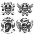 set emblems with bearded skull in racer vector image vector image