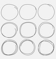 set of hand drawn circle elements vector image vector image