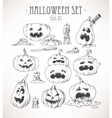 Set of pumpkins vector image