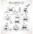 set pumpkins vector image