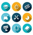 set speed eating contest icons burger vector image