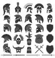 spartan helmet logo set greek warrior vector image