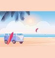 surfer travel bus with surfboard on tropical beach vector image