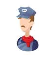 Train conductor cartoon icon vector image