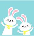 two bunny rabbit set waving paw print hand happy vector image