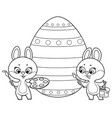 two cute cartoon little rabbits with paints vector image vector image