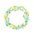 wreath leaves and flowers vector image