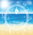 yacht in the open sea in the circle frame vector image vector image