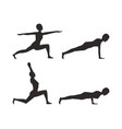 yoga poses silhouette set vector image vector image