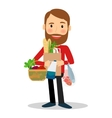 Young man with food bag vector image vector image