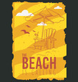 beach summer poster design with beach lounge deck vector image