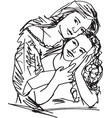 family mother and child daughter vector image