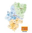 administrative map aragon spain vector image