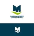 Alphabet letter M green blue logo vector image vector image