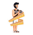 athletic man with dumbbell and measuring tape vector image