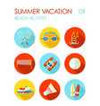 beach activity flat icon set summer vacation vector image vector image