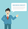 Business man stay with hand up finger pointing vector image