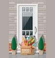 cardboard box groceries left at door house vector image