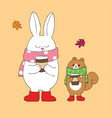 cartoon cute autumn rabbit and squirrel vector image vector image