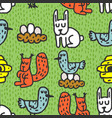 Childrens drawing forest animals seamless pattern