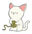 comic cartoon cat playing with ball of yarn vector image vector image