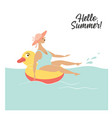 cute woman swim in inflatable duck vector image