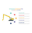 excavators infographic template concept with five vector image vector image