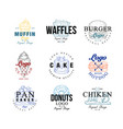 food logo design set muffin waffles burger vector image vector image
