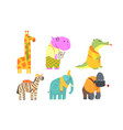 funny african animals cartoon characters set vector image vector image