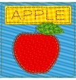 Funny patchwork with a big red apple vector image