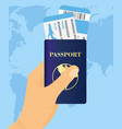 hand holding passport vector image