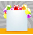Happy Birthday Day Card With Color Balloons vector image