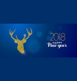 happy new year 2018 gold glitter reindeer card vector image vector image