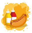 hot dog and sauces bottles vector image vector image
